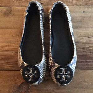Tory Burch Reva Brown Snake leather flats